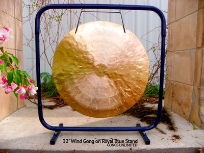 "32"" Wind Gong on Royal Blue Gong Stand - FREE SHIPPING - SOLD OUT"