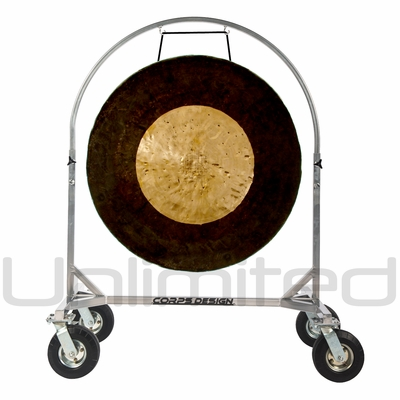 "36"" Dark Star Gong on Chrome Corps Design Adjustable Marching Band Gong Stand"