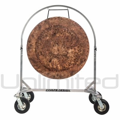 """36"""" Atlantis Gong on Chrome Corps Design Adjustable Marching Band Gong Stand"""