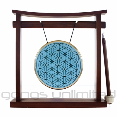 "SOLD OUT 7"" Blue Flower Of Life Gong on the Pretty Chill Gong Stand - FREE SHIPPING"