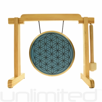 "SOLD OUT 7"" Blue Flower of Life Gong on the Tiny Atlas Stand - Natural - FREE SHIPPING"