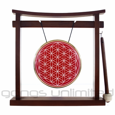 """7"""" Red Flower Of Life Gong on the Pretty Chill Gong Stand - FREE SHIPPING"""