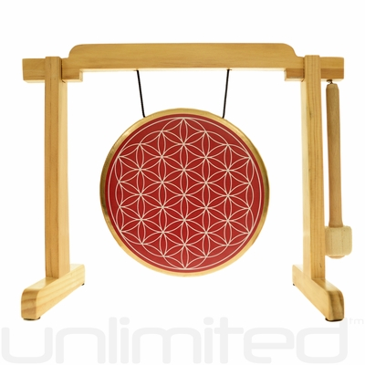 """7"""" Red Flower of Life Gong on the Tiny Atlas Stand - Natural - FREE SHIPPING"""