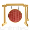 "7"" Red Flower of Life Gong on the Tiny Atlas Stand - Natural - FREE SHIPPING"