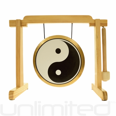 """7"""" Yin Yang Gong on the Tiny Atlas Stand - Natural - FREE SHIPPING"""