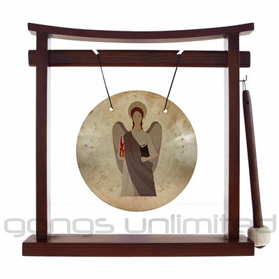 ArchAngel Uriel Prayer Gong on the Pretty Chill Gong Stand