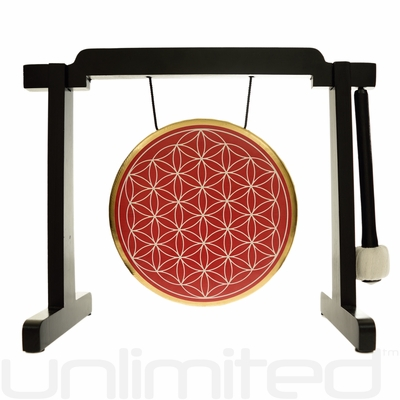 """7"""" Red Flower of Life Gong on the Tiny Atlas Stand - Black - FREE SHIPPING - SOLD OUT"""