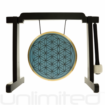 "7"" Blue Flower of Life Gong on the Tiny Atlas Stand - Black - FREE SHIPPING - SOLD OUT"
