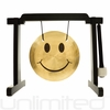 "7"" Smiley Face Gong on the Tiny Atlas Stand - Black - FREE SHIPPING"