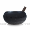 """9"""" Black Engraved Singing Bowl with Buddha Relief - FREE SHIPPING"""