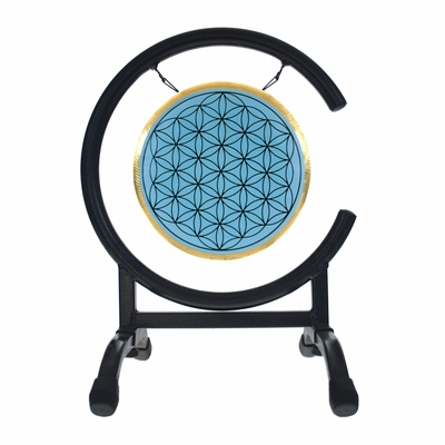 """SOLD OUT 7"""" Blue Flower Of Life Gong on High C Gong Stand - FREE SHIPPING"""