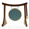 "SOLD OUT 7"" Blue Flower of Life Gong on the Lifting Buddha Stand  - Brown"