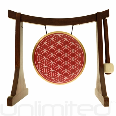 """7"""" Red Flower of Life Gong on the Lifting Buddha Stand  - Brown"""