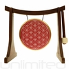 "7"" Red Flower of Life Gong on the Lifting Buddha Stand  - Brown"
