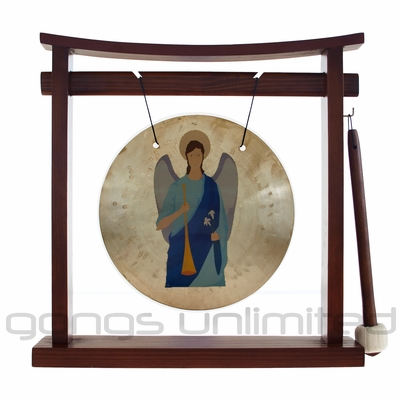 ArchAngel Gabriel Prayer Gong on the Pretty Chill Gong Stand
