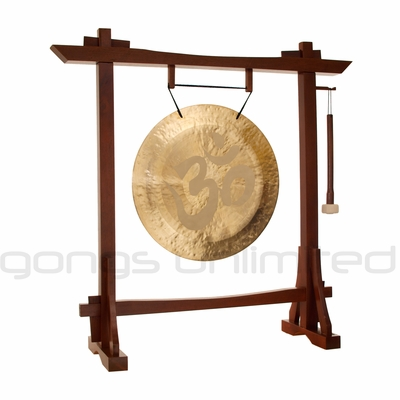 "22"" Om Wind Gong on Modern Antique Gong Stand - FREE SHIPPING"