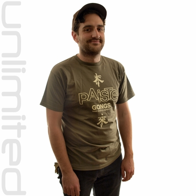 Small Paiste Gongs T-Shirt with Tai Loi Symbols - Olive Green