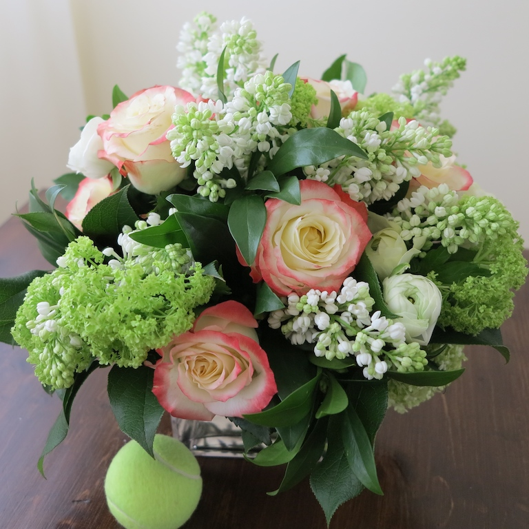 Toronto spring flowers; bouquet of pink roses, white lilacs ...