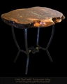 Burl Top Table with Wrought Iron Base