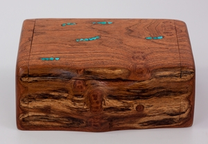 mesquite log box wooden natural jewelry box turquoise