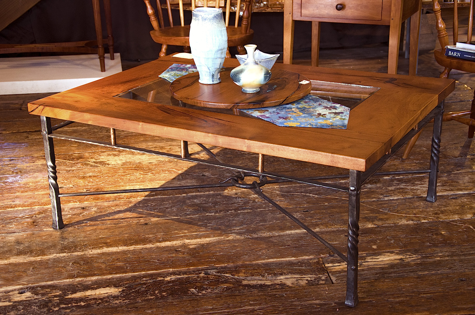 Mesquite And Wrought Iron Coffee Table Mesquite Coffee Table With Glass Insert