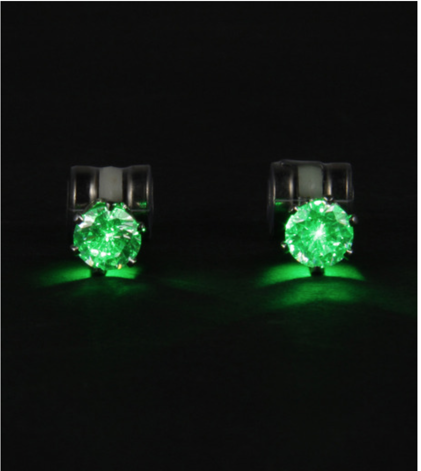 Flashing Green Led Earrings