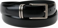 """Florsheim Genuine Black Leather Belt with Solid Buckle and matching Split Keeper 1 1/8"""" Wide"""