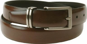 """Florsheim Genuine Brown Leather Dress Belt with Solid Buckle and Keeper 1 1/8"""" Wide"""