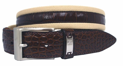 G-Flex Canvas With Croco Overlay Tiger Woods Mens Golf Belt Tan 1204103