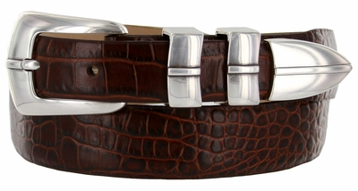 Marin Silver Men's Leather Designer Dress & Golf Belt