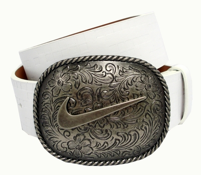 Nike Swoosh Buckle Golf Casual Leather Belt 1109904