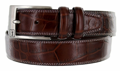 2657500 PGA TOUR Men's Crorcdile Print Leather Golf Belt - Brown