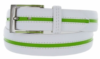 2889500 PGA TOUR Men's Leather Golf Belt - White/LimeGreen