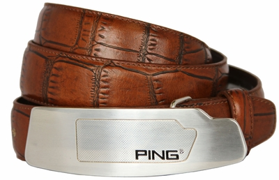 Ping Putter Buckle Leather Dress Belt-Alligator Cognac