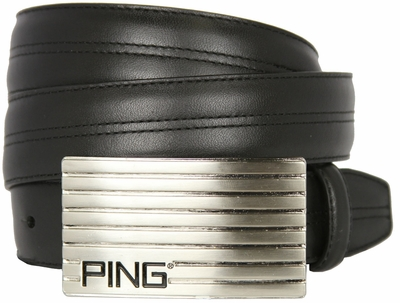 Ping Silver Golf Plate Leather Golf Belt-Black