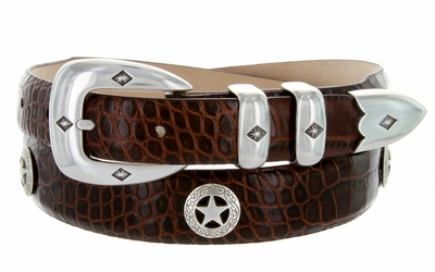 Presidential Silver Star Conchos Leather Dress Concho Belt