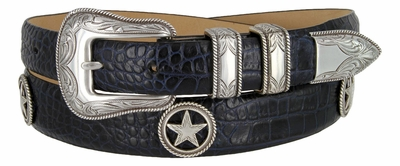 Tombstone Men's Star Conchos Italian Leather Belt