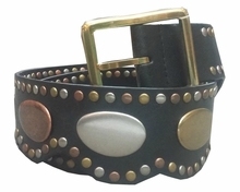 Tri Color Metal/Leather Belt