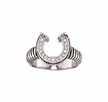 Striped Horseshoe Ring