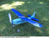 Blue Flash Racer #FF88 Easy Built Balsa Wood Model Airplane Kit Rubber Powered, Laser Cut