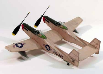 F-82 Twin Mustang #206 Dumas Wood Model Airplane Kit Rubber Powered