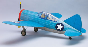 "F2A-3 Brewster Buffalo #320 Dumas 30"" Wingspan Balsa Wood Model Airplane Kit Rubber Powered"