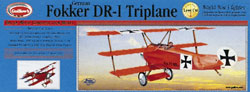 Fokker DR-1 Triplane #204LC Guillows Balsa Wood Airplane Model Kit