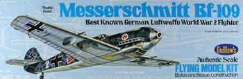 "Messerschmitt BF 109 16.5"" #505 Guillows Balsa Wood Model Airplane Kit"