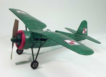 "PZL P11c #310 Dumas 30"" Wingspan Balsa Wood Model Airplane Kit Rubber Powered"