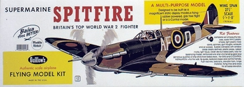 "Supermarine Spitfire 27.6"" Guillows #403 Wood Model Airplane Kit"