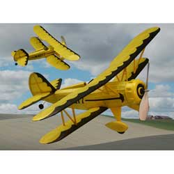 "Waco YMF5 #227  Dumas 18"" Wingspan Wood Model Airplane Kit Rubber Powered"