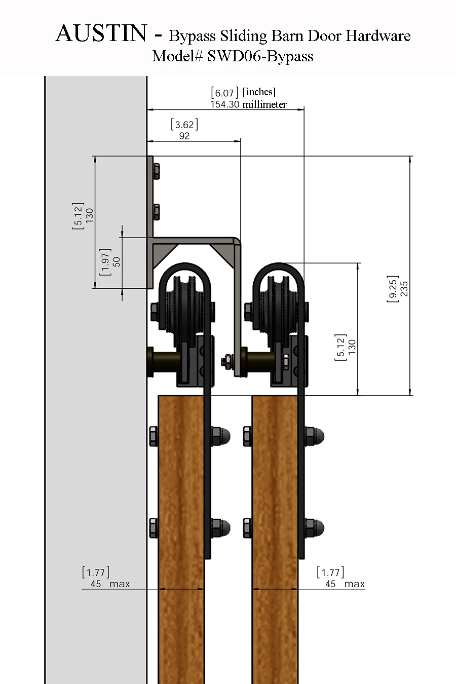 Austin bypass sliding barn door hardware for Entry hardware