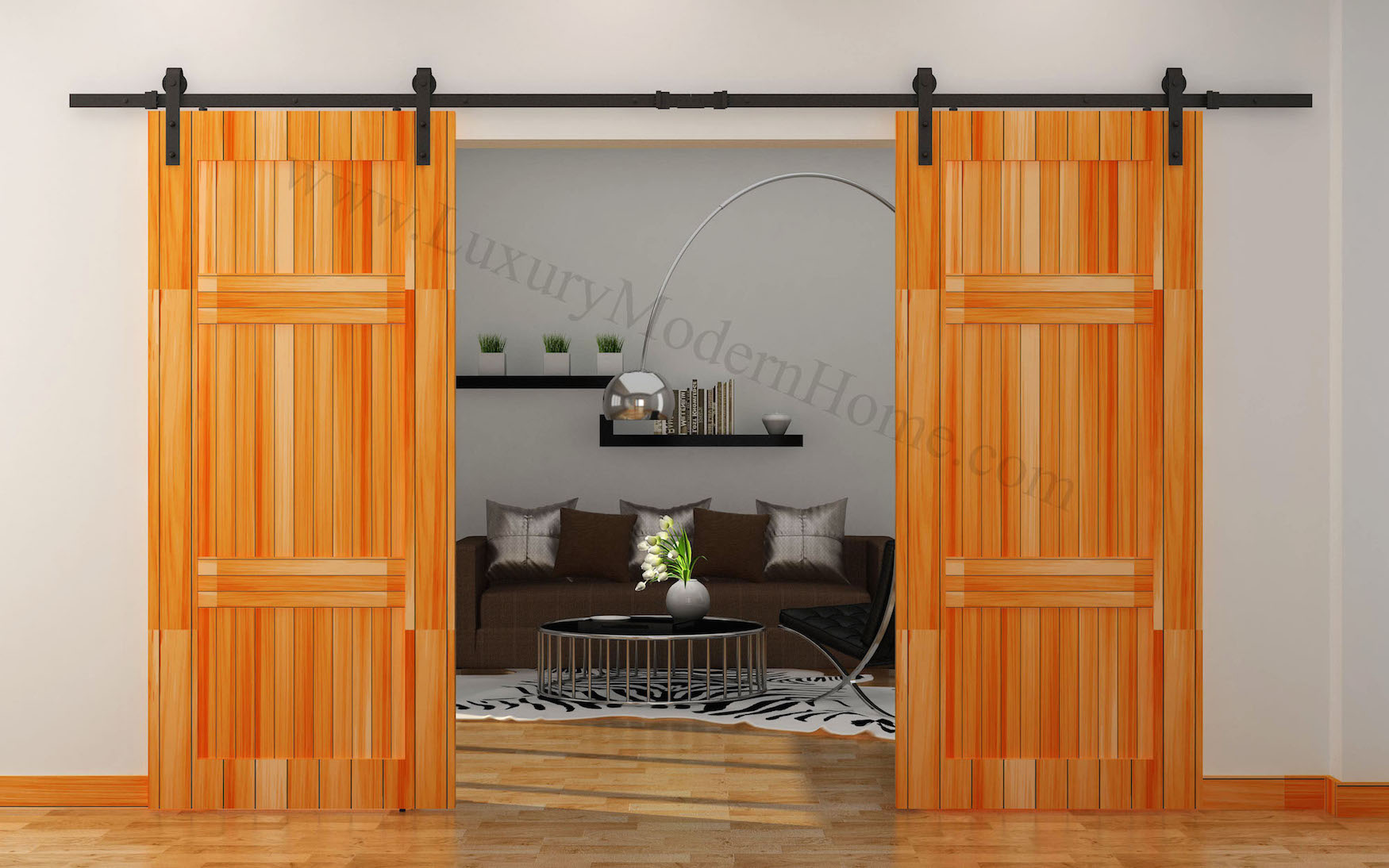 Austin double sliding barn door hardware for Double sliding doors