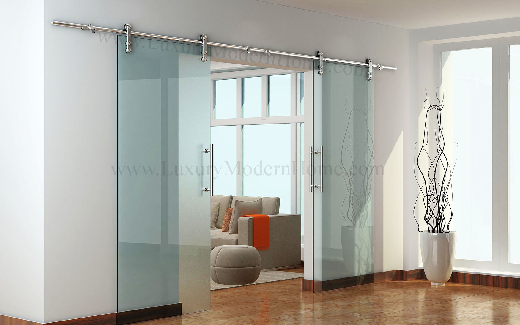 Berlin double sliding glass door hardware 100 opening max for Sliding double doors